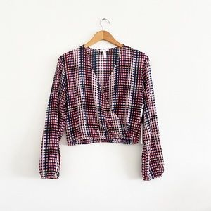 Leith Faux Wrap Painterly Plaid Small Top NEW